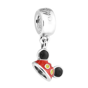 Sterling-Silver-Jewelry Mickey Mouse Pendant 100% Silver Charms with Mixed Enamel Diy Jewelry Fit Charm Bracelests & Necklaces