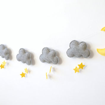 Cute Nursery Garland, Grey Yellow Garland, Cloud Star Moon Garland, Gender Neutral Nursery Decor, baby room wall decor, Nursery Design Idea