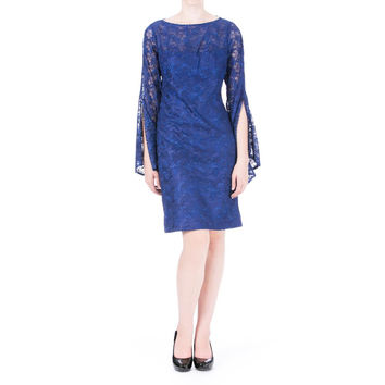 Sue Wong Womens Metallic Embroidered Cocktail Dress
