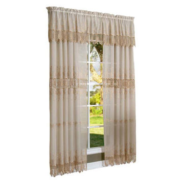 Habitat Annamaria Faux Linen Macrame Tailored Curtain Panel Mushroom