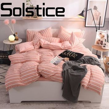 Solstice Home Textile Fashion Classic Stripe Skin Comfortable Bedding Reactive Print Bed Sheet Quilt Cover Pillow Case