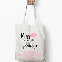 Bachelorette Tote Bag, Wedding Favors, Kiss the single life Goodbye Bachelorette Party, Wedding Tote Bag, Bachelorette Weekend, Hangover Kit