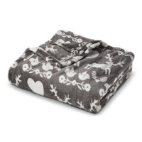 "Deer Plush Throw Blanket - Grey (50""X60"")"