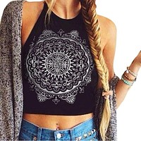 Sleeveless Crop Tops Backless Vest Halter Tops Short Shirt Top T-Shirt Retro Summer Clothing