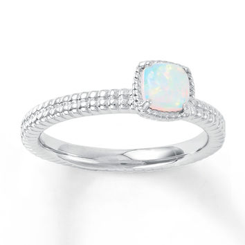 Stackable Ring Lab-Created Opal Sterling Silver