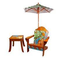 Teamson Kids - Outdoor Kids Table and Adirondack Chair Set with Umbrella - Palm Tree