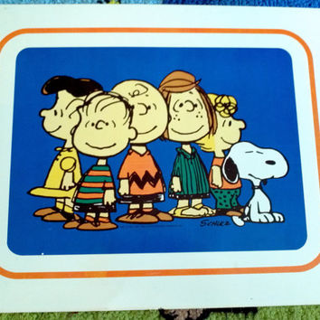 "Vintage Charlie Brown and Gang Tin Litho Picture Metal sign 18x24"" 1960 Schulz RARE Collectible Home Decor Toy Game Room Art Snoopy Lucy"