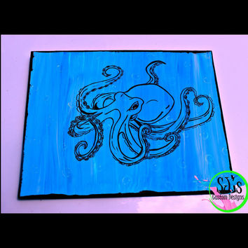Octopus outlined handpainted painting, glow in the dark, glow in the dark bubbles, under the sea, Nautical painting, Nautical decoration