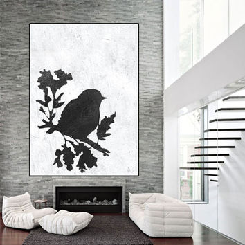 abstract bird painting, large wall art, original painting on canvas,  large wall art painting, abstract canvas art, black white