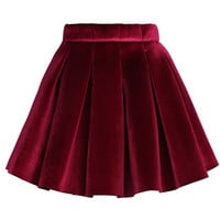 Glossy Velvet Pleated Mini Skirt in Burgundy Red M