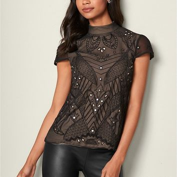 Beaded Mirror Blouse in Black | VENUS