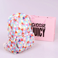 Colorful Triangular Lattice Canvas Backpack/Laptop Bag