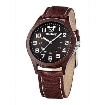 Original Disney mens boys Quartz wrist watches Mickey mouse leather student casual waterproof man clocks Brown number 52006