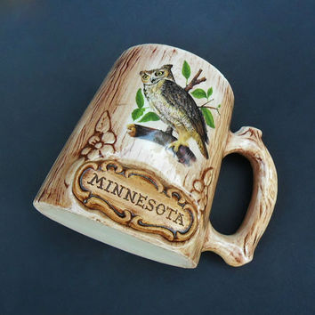 Vintage Minnesota Mug Treasure Craft Tree Bark Owl Souvenir Mug 1960s Rustic Cabin Chic