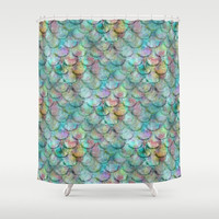 Mermaid shower curtain, Beach bathroom Decor, Colorful Fish Scale Shower Curtain