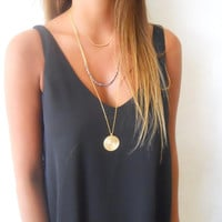 Triple Gold Layered Necklace; Three Layers Necklace Set; Long Boho Necklace set; Gold Necklace Set