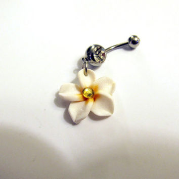 Belly Ring, Exotic White Hawaiian Plumeria Flower, With Yellow Sun Crystal Belly button Navel Ring, Belly Button Jewelry For Women and Teens