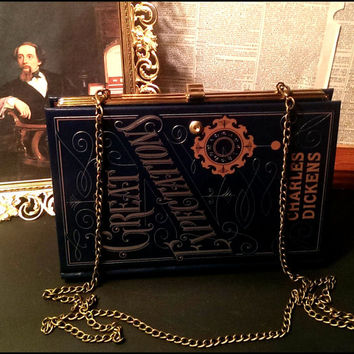 Book Clutch Great Expectations by Charles Dickens Literary Book Purse Clutch Crossbody Chain Ready to Ship