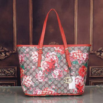 GUCCI Women Shopping Flower Leather Handbag Tote Satchel Shoulder Bag H-MYJSY-BB