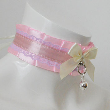 Kitten play collar - Girlysweet - ddlg little satin princess choker with bow and bell - kawaii cute fairy kei bdsm proof petplay gear