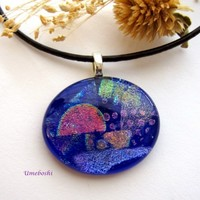 Contemplation in Blue Handmade Dichroic Fused Glass Cabochon Pendant