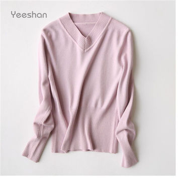 Yeeshan V-Neck Pullover Sweater Women Wool Blend Female Slim Women Knitted Sweater Textured Knit Tunic