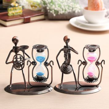 Romantic Sand Hourglass Metal Crafts Sandglass Timer Clock Office Bedroom Home Decor