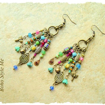 Bohemian Jewelry, Boho Colorful Assemblage Earrings, Nature Inspired, Gypsy Dangle Earrings, Boho Style Me, Kaye Kraus