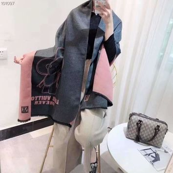 Woman Casual Fashion Classic Comfortable Double Sided Elephant Pattern Scarf