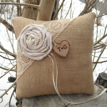 Personalized Burlap Ring Bearer Pillow Rustic Burlap and Lace Wedding Pillow