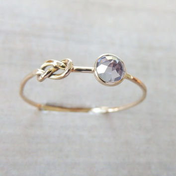 Tanzanite Gold Ring, Infinity Knot Ring, Delicate Gemstone Ring, Knot Ring, Rose Gold Ring, Yellow Gold Ring, Love Knot Ring, Skinny Ring