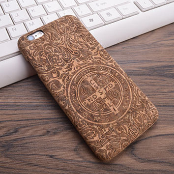 Vintage Lettering From The Back of a St. Benedict medal Cork Phone Case For iPhone 7 7Plus 6 6s Plus