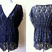 sheer black floral kaftan top (free size), lace swimsuit cover up, beach coverup