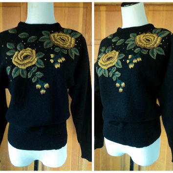 Vintage 80s Sweater Batwing Crewel Floral Embroidery Beads Wool Blend 50s Style Sweater S 40 Bust