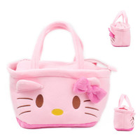 2016 Pink Color Cute Kawaii Cartoon Hello Kitty Baby Girls Mini Soft Plush Bag Kids Children Handbag for Toy&