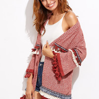 Red Knit Cardigan With Embroidery And Fringe Detail