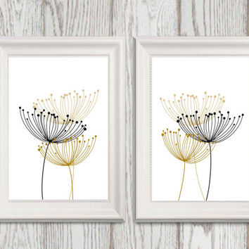 Abstract Black and gold flower wall art Set of 2 Dandelion Minimalist wall decor Modern print Large flower art Flower printable 20x30 8x10