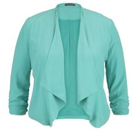 Plus Size - Sea Green Drape Front Blazer With Cinched Sleeves - Sea Green