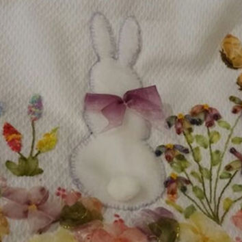 Bunny rabbit baby blanket, bunny cross stitch needlework, baby cotton Throws, Hand Embroidery baby rug , bunny rabbit Stitch crip blanket