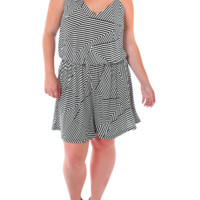 Plus Size Sexy Striped Romper, Plus Size Clothing, Club Wear, Dresses, Tops, Sexy Trendy Plus Size Women Clothes