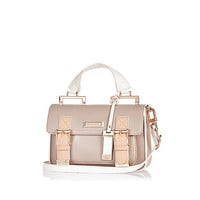 Beige mini satchel handbag - satchels - bags / purses - women