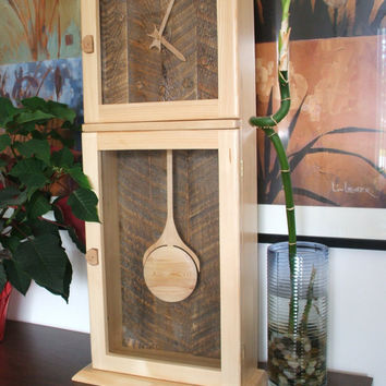 Shaker Pendulum Clock using pine and recycled barnwood ...Introductory price.