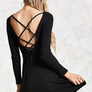 Ribbed Lace-Up Skater Dress