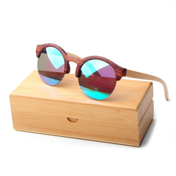 Women's Wood Frame Round Sunglasses