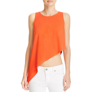 Kendall + Kylie Womens Asymmetric U-Neck Tank Top