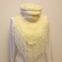 Triangle Scarf Cowl With Collar Hand Knit Fringed Scarf Ivory Knitted Scarf Cowl