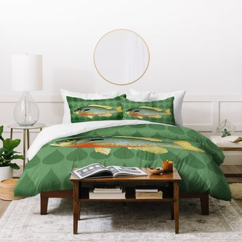 Natt Green and Yellow Fish Duvet Cover
