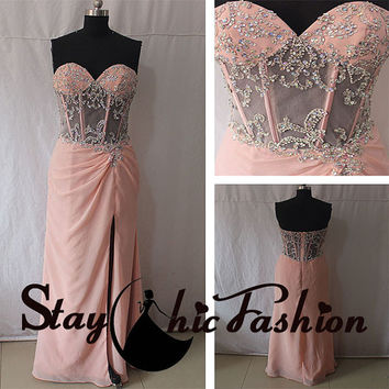 2015 Sexy Illusion Beaded Waist Long Pink Strapless Slit Formal Evening Dress, Womens Pink Sweetheart Empire Waist School Prom Dress 2015