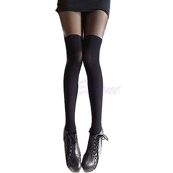 Patchwork High Stocking Mock Thigh Over The Knee Ribbed Pantyhose Tight