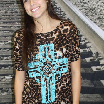 Plus Size Leopard with Turquoise Cross Short Sleeve Tunic